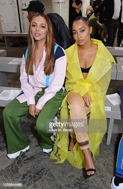 Jade Thirlwall and LeighAnne Pinnock of Little Mix attend the House Of Holland front row during London Fashion Week September 2018 at the My...