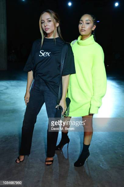 Jade Thirlwall and LeighAnne Pinnock of Little Mix attend the Christopher Kane front row during London Fashion Week September 2018 at the Tate Modern...