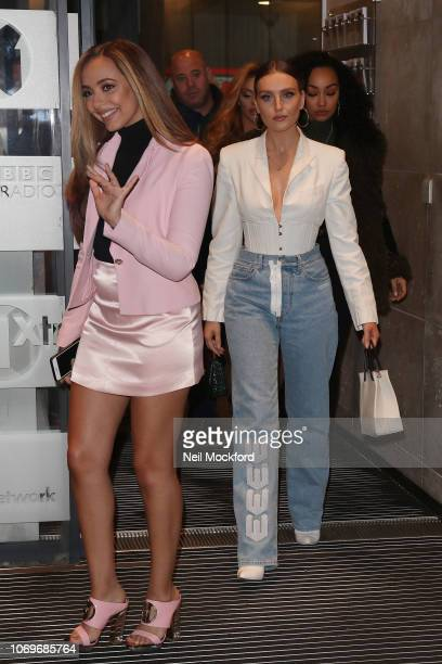Jade Thirlwall and Perrie Edwards from Little Mix seen at BBC Radio One on November 19 2018 in London England