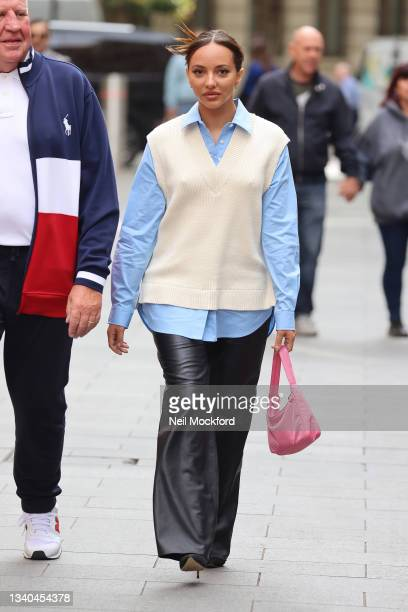 Jade Thirlwall from Little Mix seen arriving at Capital Breakfast Radio Studios on September 15, 2021 in London, England.