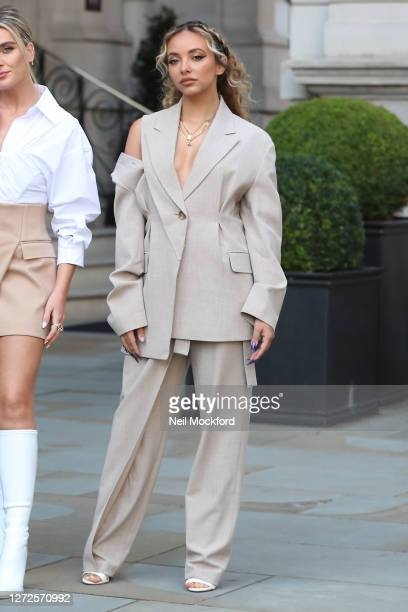 Jade Thirlwall from Little Mix seen leaving the Langham Hotel ahead of their performance of BBC Radio One Live Lounge on September 15, 2020 in...