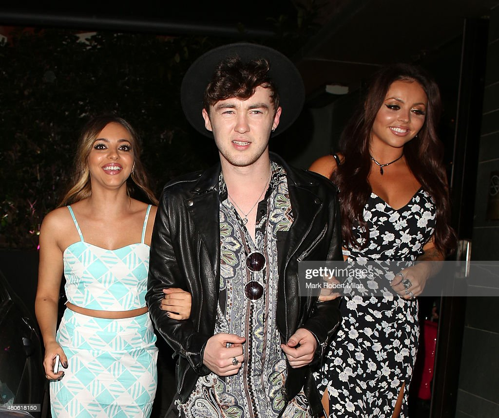 Jade Thirlwall, Jake Roche and Jesy Nelson at Hakkasan restaurant on July 13, 2015 in London, England.