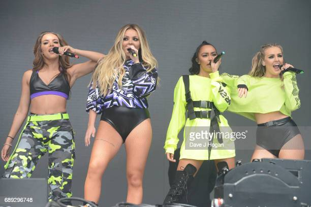 Jade Thirlwall Jesy Nelson LeighAnne Pinnock and Perrie Edwards of the band Little Mix attend Day 2 of BBC Radio 1's Big Weekend 2017 at Burton...
