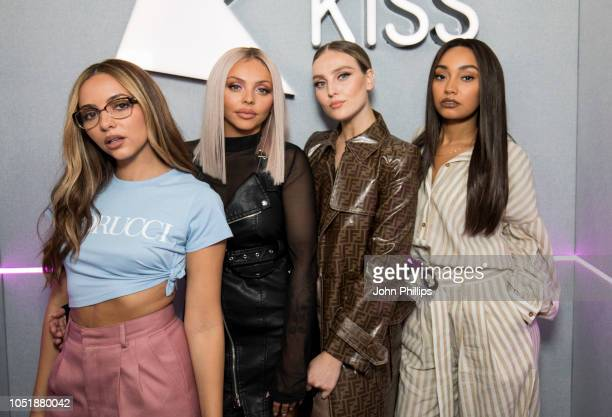 Jade Thirlwall Jesy Nelson Perrie Edwards and LeighAnne Pinnock of Little Mix visit Kiss FM Studio's on October 11 2018 in London England