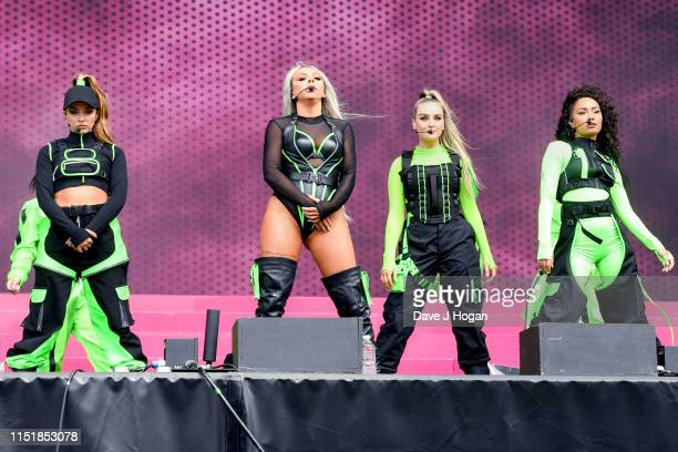 Jade Thirlwall, Jesy Nelson, Perrie Edwards and Leigh-Anne Pinnock of Little Mix perform at the Radio 1 Big Weekend at Stewart Park on May 26, 2019...