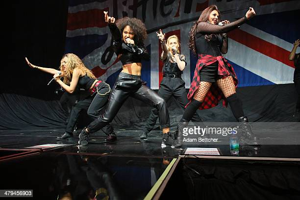Jade Thirlwall Leigh Anne Pinnock Perrie Edwards and Jesy Nelson of the band Little Mix perform before Demi Lovato at the Xcel Energy Center on March...
