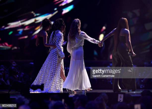 AWARDS 2018 *** Jade Thirlwall Leigh Anne Pinnock Perrie Edwards and Jesy Nelson of Little Mix on stage at The BRIT Awards 2018 held at The O2 Arena...