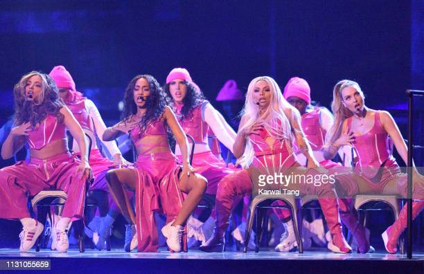 Jade Thirlwall LeighAnne Pinnock Jesy Nelson and Perrie Edwards of Little Mix perform during The BRIT Awards 2019 held at The O2 Arena on February 20...