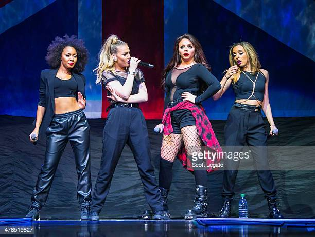 Jade Thirlwall LeighAnne Pinnock Jesy Nelson and Perrie Edwards of Little Mix performs in concert at The Palace of Auburn Hills on March 13 2014 in...