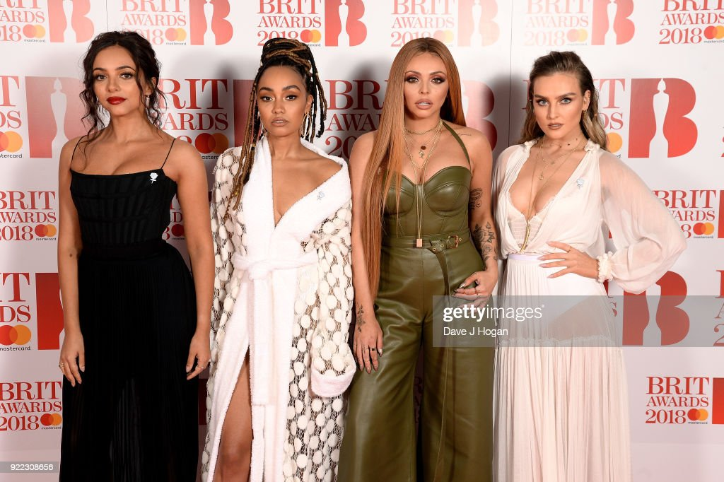 Jade Thirlwall, Leigh-Anne Pinnock, Jesy Nelson and Perrie Edwards of Little Mix attend The BRIT Awards 2018 held at The O2 Arena on February 21, 2018 in London, England.