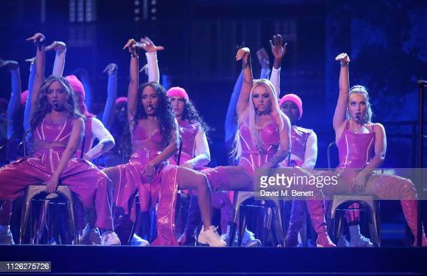 Jade Thirlwall LeighAnne Pinnock Perrie Edwards and Jesy Nelson of Little Mix perform at The BRIT Awards 2019 held at The O2 Arena on February 20...