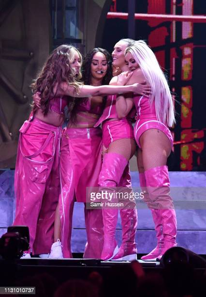 Jade Thirlwall LeighAnne Pinnock Perrie Edwards and Jesy Nelson of Little Mix perform during The BRIT Awards 2019 held at The O2 Arena on February 20...