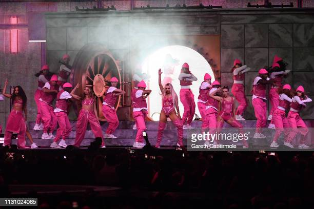 Jade Thirlwall LeighAnne Pinnock Perrie Edwards and Jesy Nelson of Little Mix perform on stage during The BRIT Awards 2019 held at The O2 Arena on...