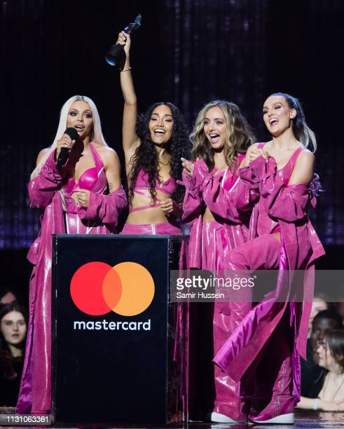 Jade Thirlwall LeighAnne Pinnock Perrie Edwards and Jesy Nelson of Little Mix win Best British Artist Video of the Year award during The BRIT Awards...