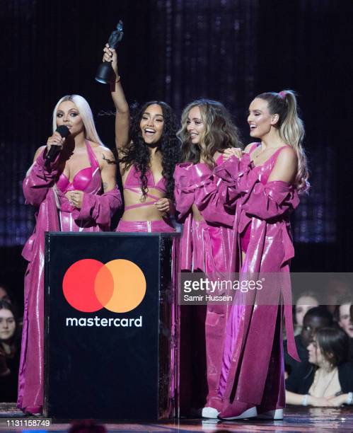 Jade Thirlwall LeighAnne Pinnock Perrie Edwards and Jesy Nelson of Little Mix win Best Video Artist during The BRIT Awards 2019 held at The O2 Arena...