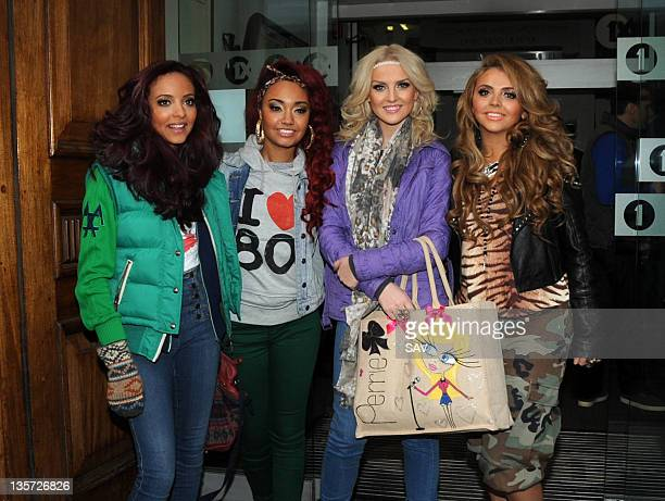 Jade Thirlwall LeighAnne Pinnock Perrie Edwards and Jesy Nelson of Little Mix pictured at Radio 1 on December 13 2011 in London England