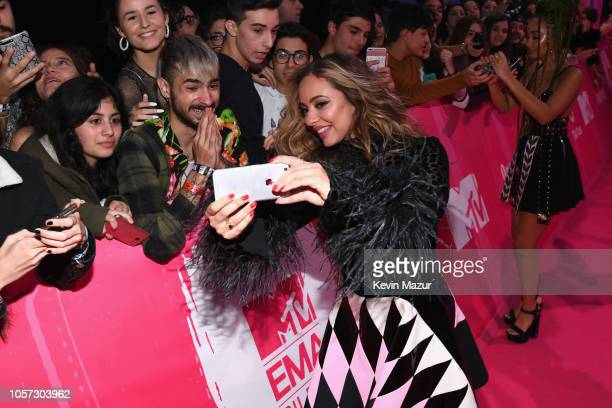 Jade Thirlwall of Little Mix poses for a selfie as she attends the MTV EMAs 2018 on November 4 2018 in Bilbao Spain
