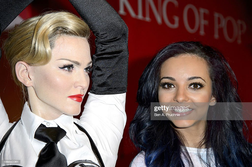 Jade Thirlwall of Little Mix poses with a wax figure of Madonna at Madame Tussauds on January 12, 2013 in London, England.