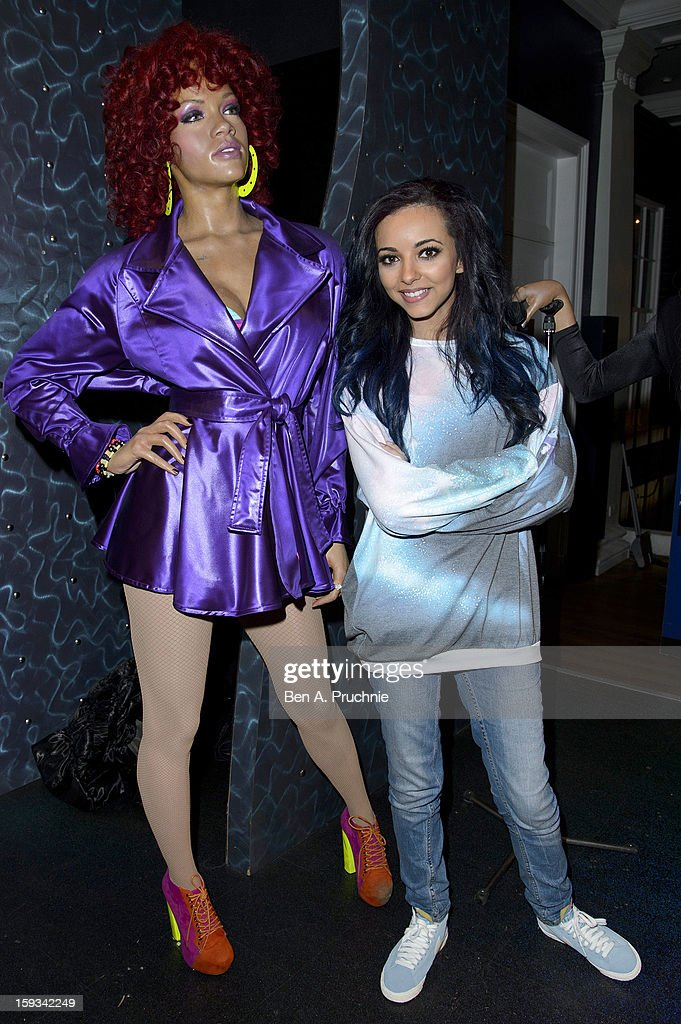 Jade Thirlwall of Little Mix poses with a wax figure of Rihanna at Madame Tussauds on January 12, 2013 in London, England.
