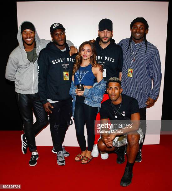 Jade Thirlwall of Little Mix poses with dancers during the One Love Manchester concert at Old Trafford Cricket Ground Cricket Club on June 4 2017 in...