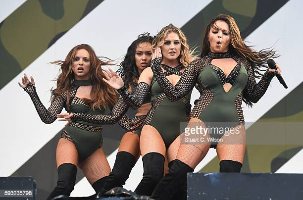 Jade Thirlwall Perri Edwards LeighAnne Pinnock and Jesy Nelson of 'Little Mix' perform during the V Festival at Hylands Park on August 20 2016 in...