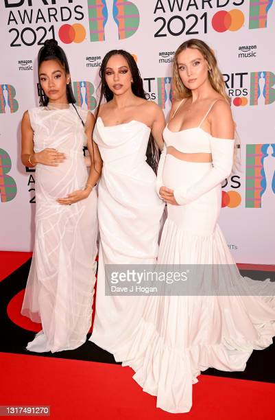 Jade Thirlwall, Perrie Edwards and Leigh-Anne Pinnock of Little Mix attend The BRIT Awards 2021 at The O2 Arena on May 11, 2021 in London, England.