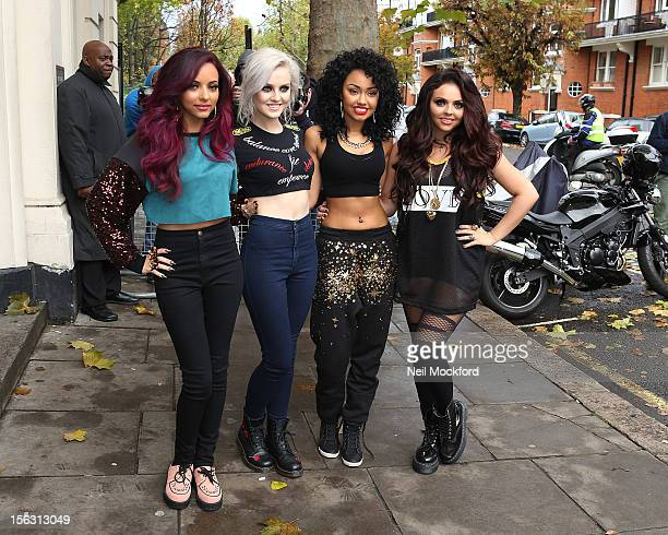 Jade Thirlwall Perrie Edwards LeighAnne Pinnock and Jesy Nelson from Little Mix seen at the Maida Vale Live Lounge on November 13 2012 in London...