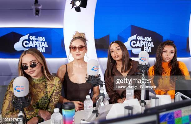 Jade Thirlwall Perrie Edwards LeighAnne Pinnock and Jesy Nelson of Little Mix at the Global radio Leicester Square central London
