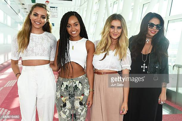 Jade Thirlwall, Perrie Edwards, Leigh-Anne Pinnock and Jesy Nelson of Little Mix is seen upon arrival at Haneda Airport on August 15, 2014 in Tokyo,...