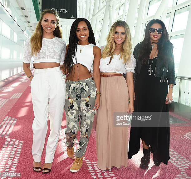 Jade Thirlwall Perrie Edwards LeighAnne Pinnock and Jesy Nelson of Little Mix is seen upon arrival at Haneda Airport on August 15 2014 in Tokyo Japan