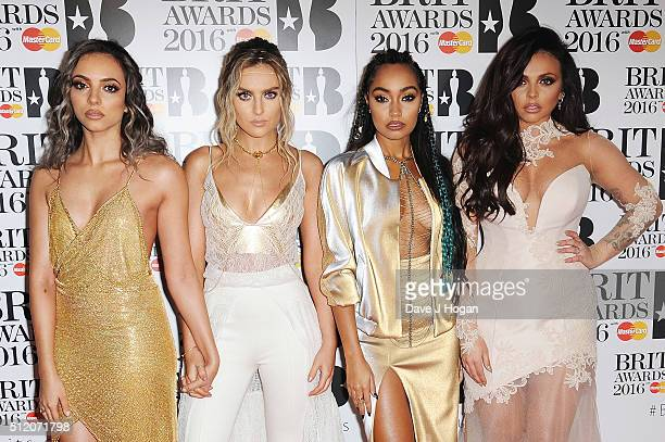 Jade Thirlwall Perrie Edwards LeighAnne Pinnock and Jesy Nelson of Little Mix attend the BRIT Awards 2016 at The O2 Arena on February 24 2016 in...
