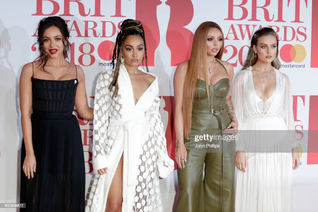 Jade Thirwall, Leigh-Anne Pinnock, Jesy Nelson and Perrie Edwards of Little Mix attend The BRIT Awards 2018 held at The O2 Arena on February 21, 2018 in London, England.