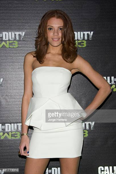 Jade Thompson pictured at the Call of Duty Modern Warfare 3 launch event at The Old Billingsgate on November 7 2011 in London England