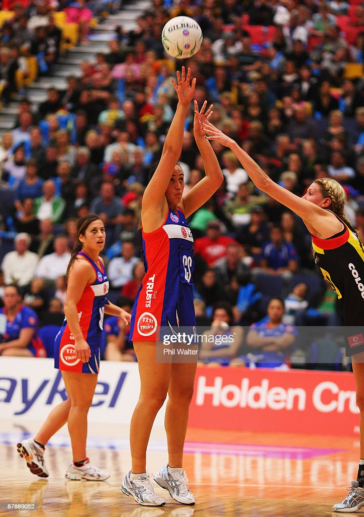 Jade Topia of the Mystics puts up a shot at goal during the round seven ANZ Championships match between the Magic and the Mystics at the Energy Events Centre on May 18, 2009 in Rotorua, New Zealand.