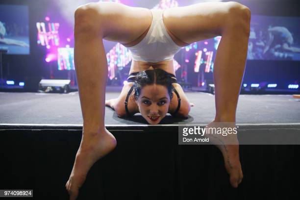 Jade Twist performs on stage at SEXPO Sydney 2018 at the International Convention Centre on June 14 2018 in Sydney Australia