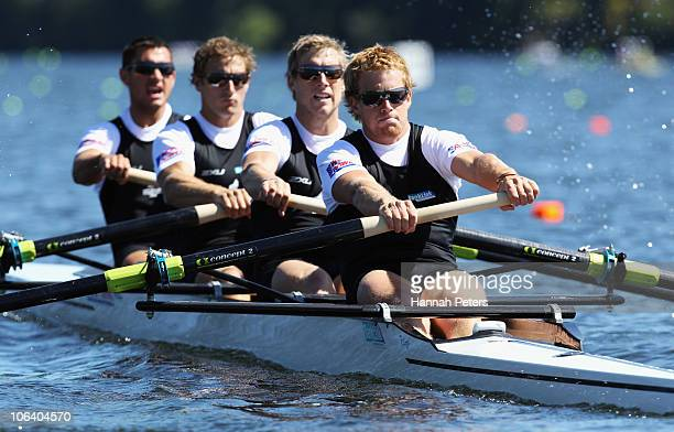 Jade Uru Simon Watson Hamish Burson and David Eade of New Zealand race in the Men's Four heat during day two of the World Rowing Championships at...