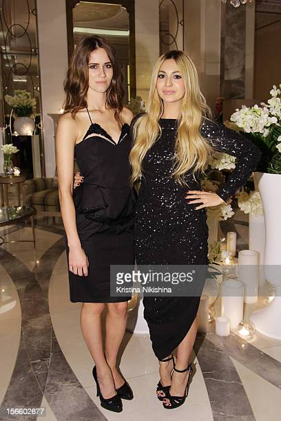 Jade Williams aka Sunday Girl and Zara Martin arrive at the launch of the Four Seasons Hotel Baku on November 17 2012 in Baku Azerbaijan
