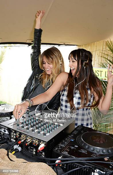 Jade Williams aka Sunday Girl and Zara Martin DJ at the Mahiki Rum Bar for the launch of the Mahiki Rum Family backstage during day 2 of the V...