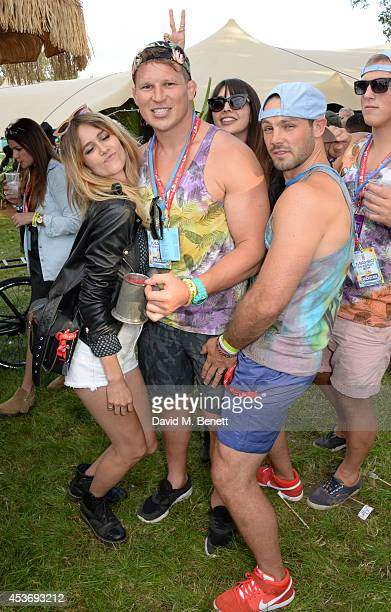 Jade Williams aka Sunday Girl Dylan Hartley Zara Martin and Ben Foden attend the Mahiki Rum Bar for the launch of the Mahiki Rum Family backstage...