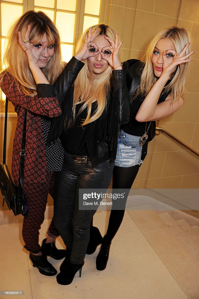 (L to R) Jade Williams aka Sunday Girl, Zara Martin and Laura Whitmore attend the AnOther Magazine and Dazed & Confused party with Belvedere Vodka at the Cafe Royal hotel on February 18, 2013 in London, England.
