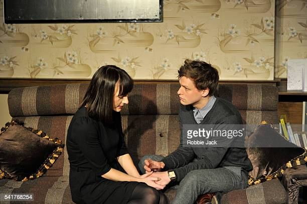 Jade Williams as Shelley and Max Bennett as Tom in David Eldridge's In Basildon directed by Dominic Cooke at the Royal Court in London