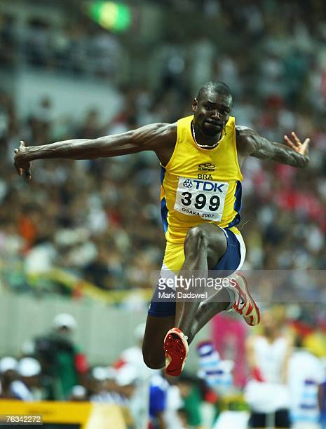 Jadel Gregorio of Brazil competes during the Men's Triple Jump Final on day three of the 11th IAAF World Athletics Championships on August 27 2007 at...