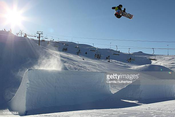 Jaden Beange of New Zealand competes in the Mens Snowboard Slopestyle Qualification during day nine of the Winter Games NZ at Snow Park on August 21...