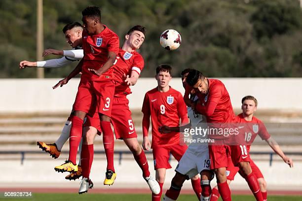 Jaden Brown and Edward Francis of England challenges Renat Dadashov of Germany during the UEFA Under17 match between U17 England v U17 Germany on...