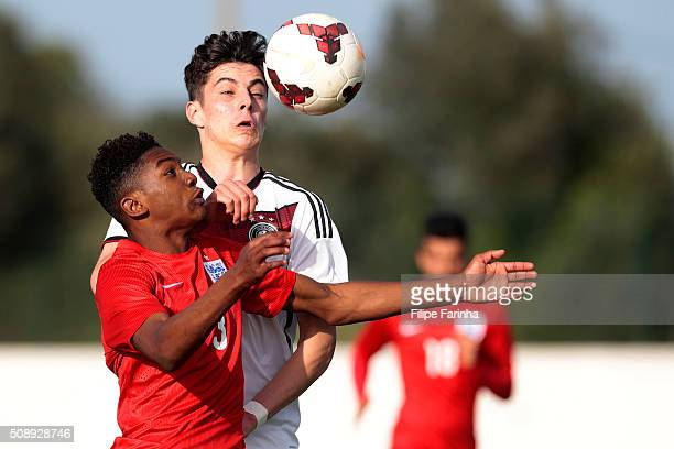 Jaden Brown of England challenges Kai Havertz of Germany during the UEFA Under17 match between U17 England v U17 Germany on February 7 2016 in Lagos...