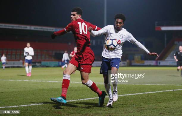 Jaden Brown of Tottenham and Dominic Solanke of Liverpool during the Premier League 2 match between Tottenham Hotspur and Liverpool at The Lamex...