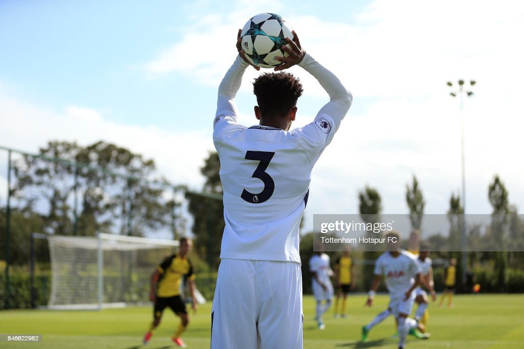 Jaden Brown of Tottenham Hotspur takes a throw in during the UEFA Youth Champions League group H match between Tottenham Hotspur and Borussia Dortmund on September 13, 2017 in Enfield, United Kingdom.