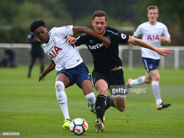Jaden Brownof Tottenham Hotspur Under 23s holds of Antonio Martinez of West Ham United Under 23s during Premier League 2 Div 1 match between...