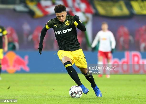 Jaden Sancho of Borussia Dortmund controls the ball during the Bundesliga match between RB Leipzig and Borussia Dortmund at Red Bull Arena on January...