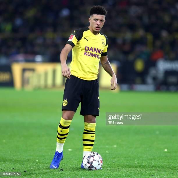 Jaden Sancho of Borussia Dortmund controls the ball during the Bundesliga match between Borussia Dortmund and Borussia Moenchengladbach at Signal...